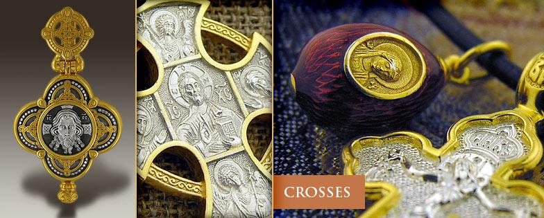Eastern Orthodox Christian Crosses Gold Silver Enameled